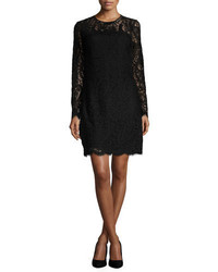 MICHAEL Michael Kors Michl Michl Kors Long Sleeve Scalloped Lace Shift Dress Black