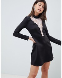 ASOS DESIGN Scallop Lace Insert Scuba Mini Dress