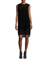 DKNY Sleeveless Lace Shift Dress Black