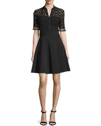 Half sleeve lace bodice shirtdress black medium 694742