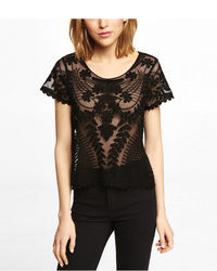 Express Short Sleeve Baroque Lace Tee