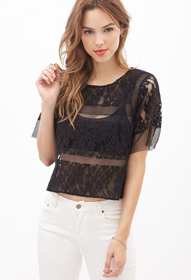 ef6ae9f1785aa9 ... Black Lace Short Sleeve Blouses Forever 21 Mesh Lace Top ...