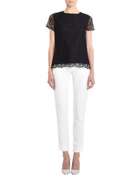 Barneys New York Short Sleeve Lace Top