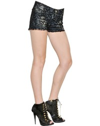 Amen Techno Lace On Cotton Denim Shorts