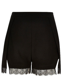 River Island Black Lace Trim Smart Shorts