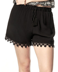 California Moonrise Crocheted Lace Trim Drawstring Shorts