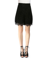 Erdem Leena Pleated Lace Shorts Black