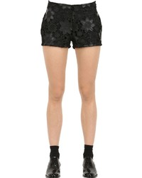 Es'givien Faux Leather Macram Lace Shorts