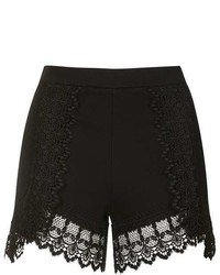 Topshop High Waisted Lace Trim Shorts