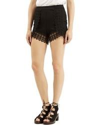 Topshop Lace Trim High Rise Shorts