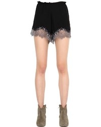 Silk Crepe De Chine Shorts With Lace