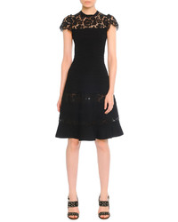 Valentino Fit And Flare Dress With Lace