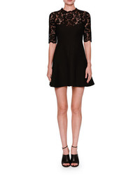Valentino Half Sleeve Lace Fit Flare Dress Black