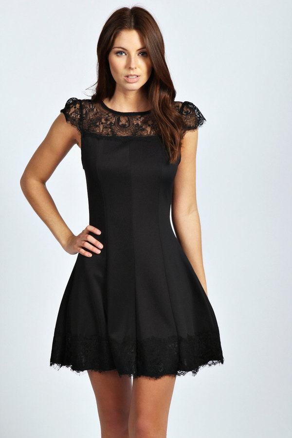 ... Black Lace Skater Dresses Boohoo Mia Lace Panels Cap Sleeve Skater Dress  ... 4b00af55c