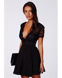 d82300ab02b Missguided Aleena Eyelash Lace Plunge Neck Puffball Mini Dress In Black