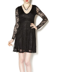 Nadias boutique black lace skater dress medium 275200