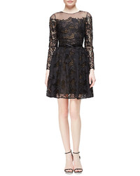 Marchesa Notte Long Sleeve Belted Lace Flare Dress