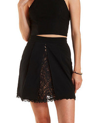 Lace lined front slit skater skirt medium 215862