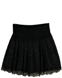 Lace Panel Layered Pleated Black Skirt