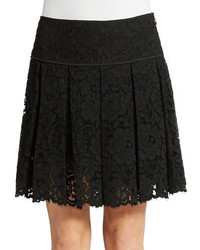 DKNY Pleated Lace Mini Skirt