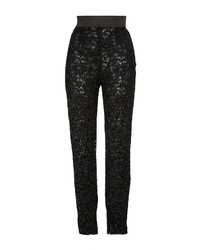 Dolce & Gabbana Black Lace Skinny Tailored Pants