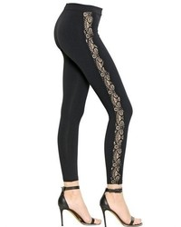 David Lerner Lace Detail Techno Jersey Leggings