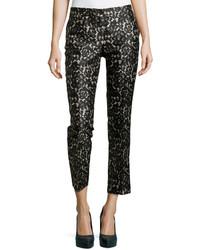 Michael Kors Michl Kors Samantha Cropped Lace Print Pants Blacknude