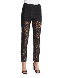 Elie Saab Slim Leg Lace Ankle Pants Black