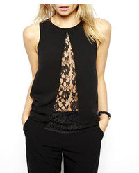 ChicNova Lace Mesh See Through Sleeveless Chiffon Blouse