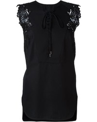 Ermanno Scervino Lace Detailing Lace Up Tank Top