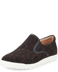 Neiman Marcus Angel Lace Slip On Sneaker Black