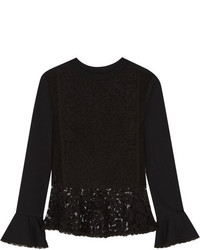See by Chloe See By Chlo Cotton Jersey And Lace Peplum Sweater Black