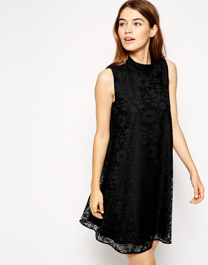 883f0fbb7b3df Asos Collection Lace Swing Dress With High Neck, $45 | Asos ...