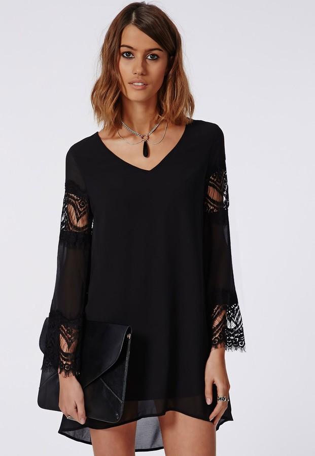 Chiffon swing dress with sleeves