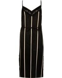 River Island Black Stripe Lace Panel Slip Dress