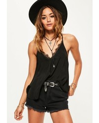 Missguided Black Lace Trim Tie Back Cami Top
