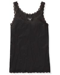 Calvin Klein Faux Leather Lace Trim Scoopneck Tank Top