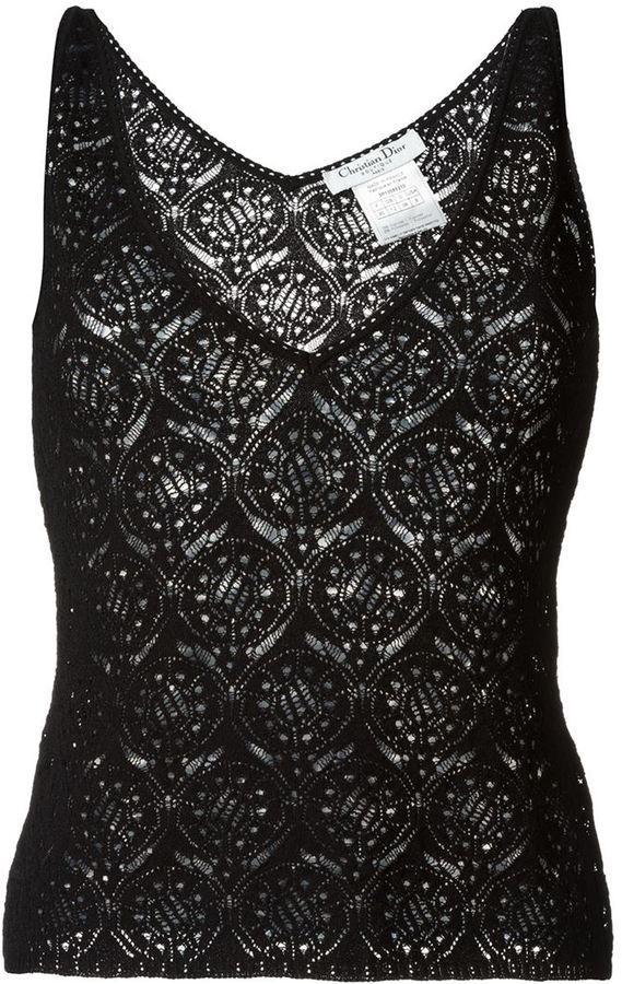 11e4a3b95b897 ... Christian Dior Vintage Lace Knit Tank Top
