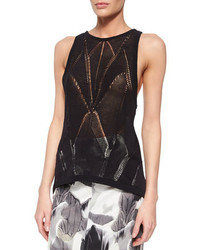 Helmut Lang Fractured Lace Tank Black