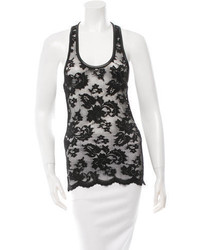 Robert Rodriguez Leather Trimmed Lace Top W Tags