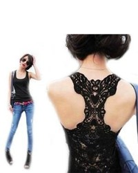 Sexy Lace Hollowed Out Flower Tank Top Sleeveless Casual T Shirt Vest