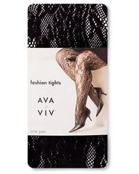 Ava & Viv Plus Size Tights Black Floral Lace