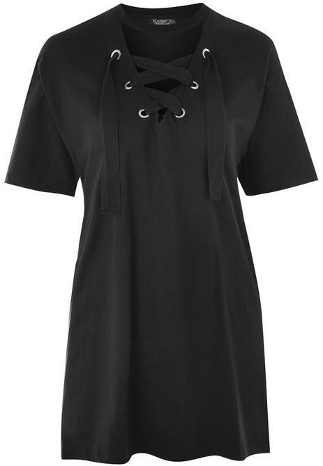 Topshop Lace Up Longline Tunic Top