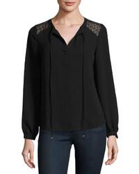 Neiman Marcus Long Sleeve Lace Panel Tunic Black
