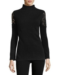Cashmere collection lace shoulder cashmere turtleneck medium 4984156