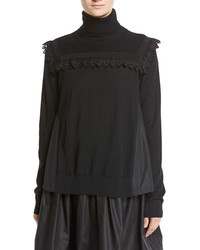 Maglia mixed media turtleneck sweater w lace detail black medium 3995316