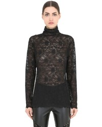 Pierre mantoux lace turtleneck top medium 737530