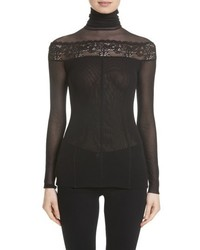 Sheer lace trim tulle turtleneck medium 4952826