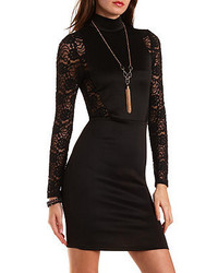 Charlotte Russe Turtleneck Dress With Lace Sleeves