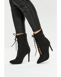 Missguided Black Pointed Lace Up Ankle Boots